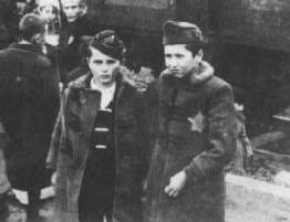 Jewish brothers arrive at Auschwitz on a transport from Hungary.