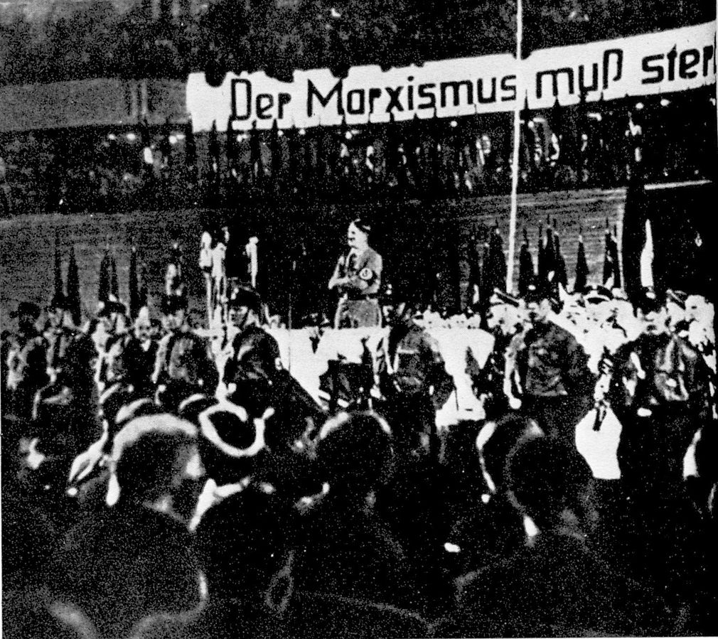 Adolf Hitler speaks at a rally in Berlin in 1933
