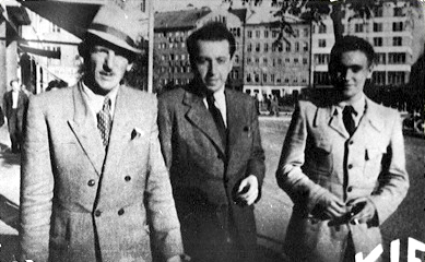 From left, Arnost Rosin, Josef Weiss of the Bratislava Ministry of Health, and Rudolf Vrba, in Bratislava, now Slovakia, June-July 1944. Vrba had escaped from Auschwitz on 7 April 1944, Rosin on 24 May.