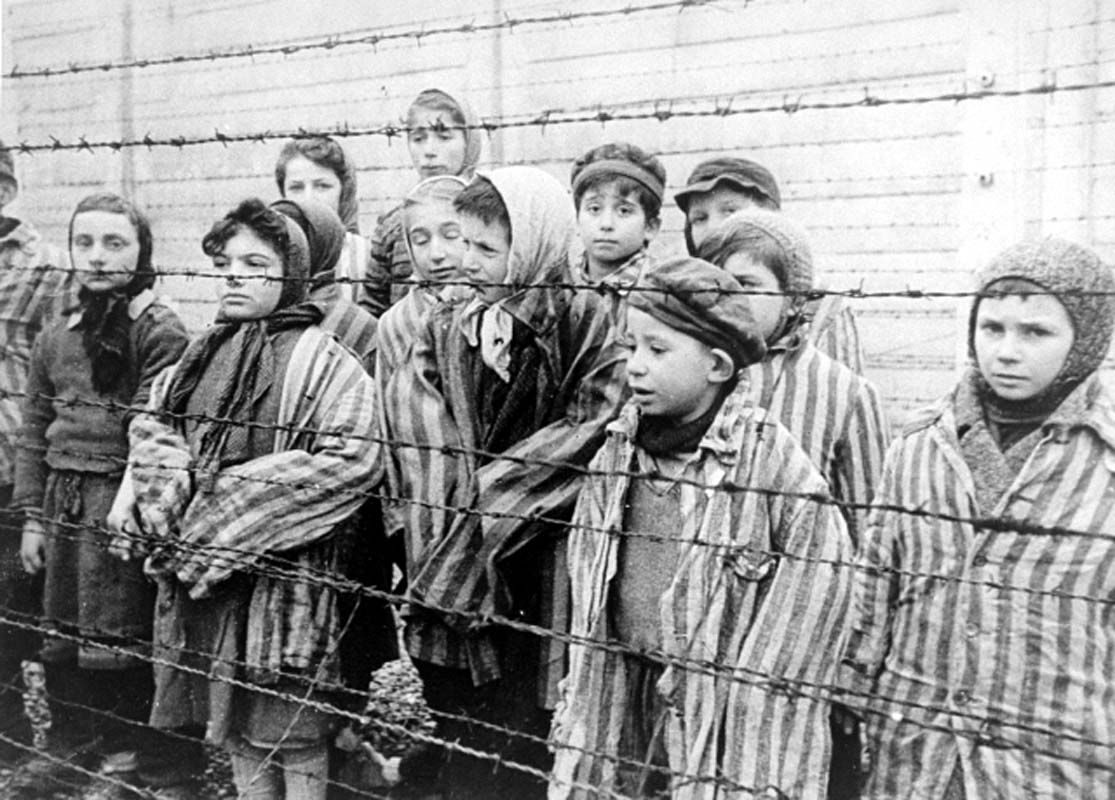 Auschwitz Liberation - Children at the fence