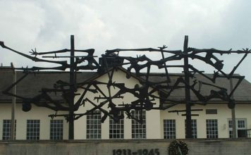 Dachau Administration Building with Sculpture